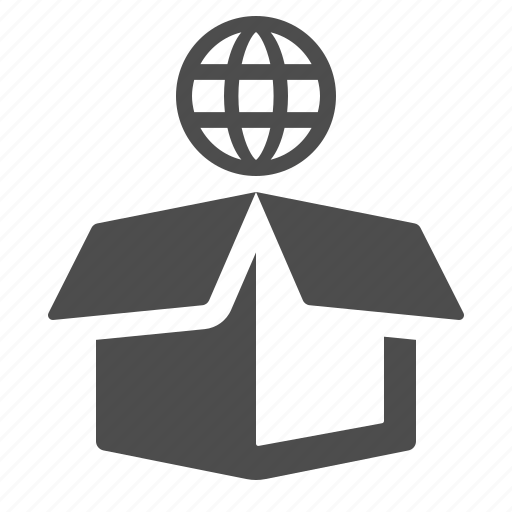 box, crate, delivery, global, globe, logistics, package icon