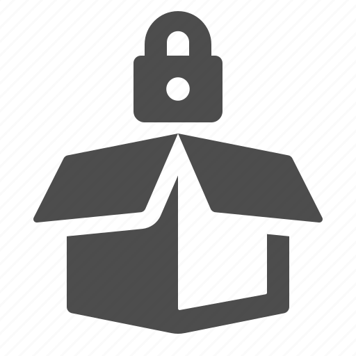 box, crate, delivery, lock, locked, package, security icon