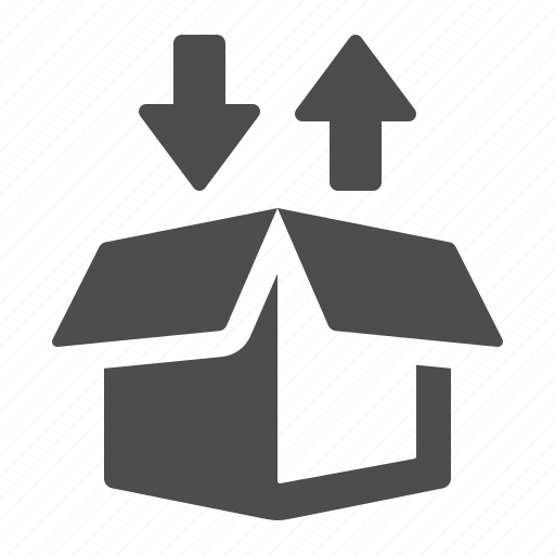 arrows, box, crate, delivery, exchange, package, shipping icon