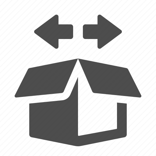arrows, box, crate, delivery, logistics, navigation, package icon