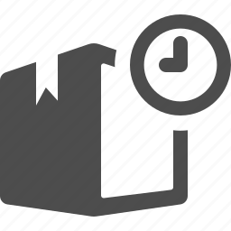box, clock, crate, delivery, logistics, package, shipping icon