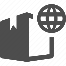 box, crate, delivery, global, globe, package, shopping icon