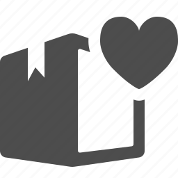 box, crate, heart, love, package icon