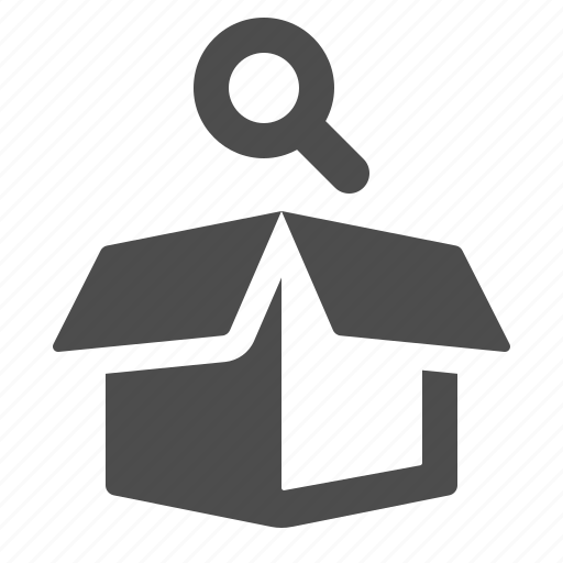 box, crate, delivery, logistics, magnifying glass, package, shipping icon