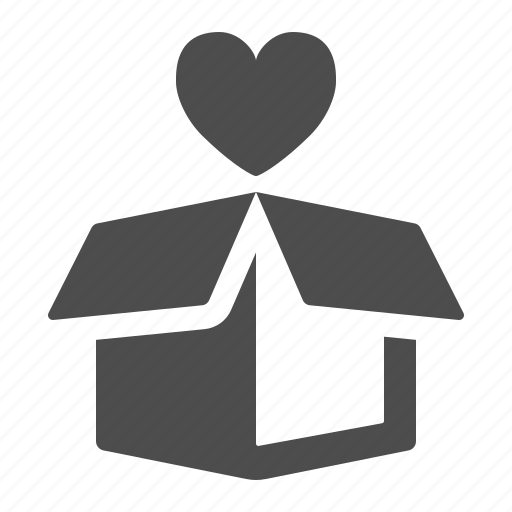 box, crate, delivery, favorite, heart, love, package icon