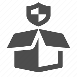 box, crate, insurance, package, security, shield icon