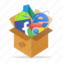 box, computer, marketing, package, seo, tools, web icon