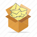 box, email, email sending, emails, inbox, message, package icon