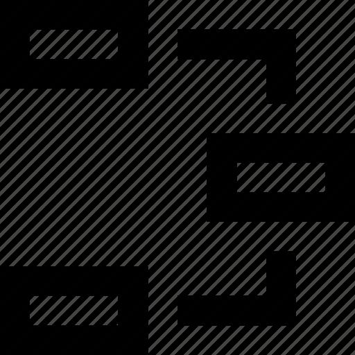 boxes, breakdown, chart, flow, mindmap, process icon