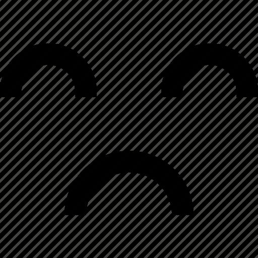 down, expression, face, human, sad, upset icon
