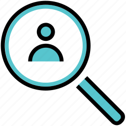 analysis, looking glass, magnifying, person, search icon