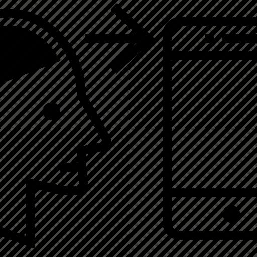 arrow, brain, communicate, head, human, phone, using icon
