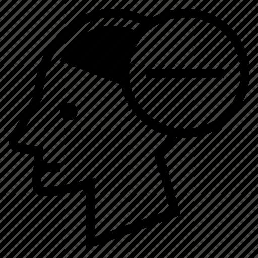 Brain, head, human, mind, minus, negative, thought icon