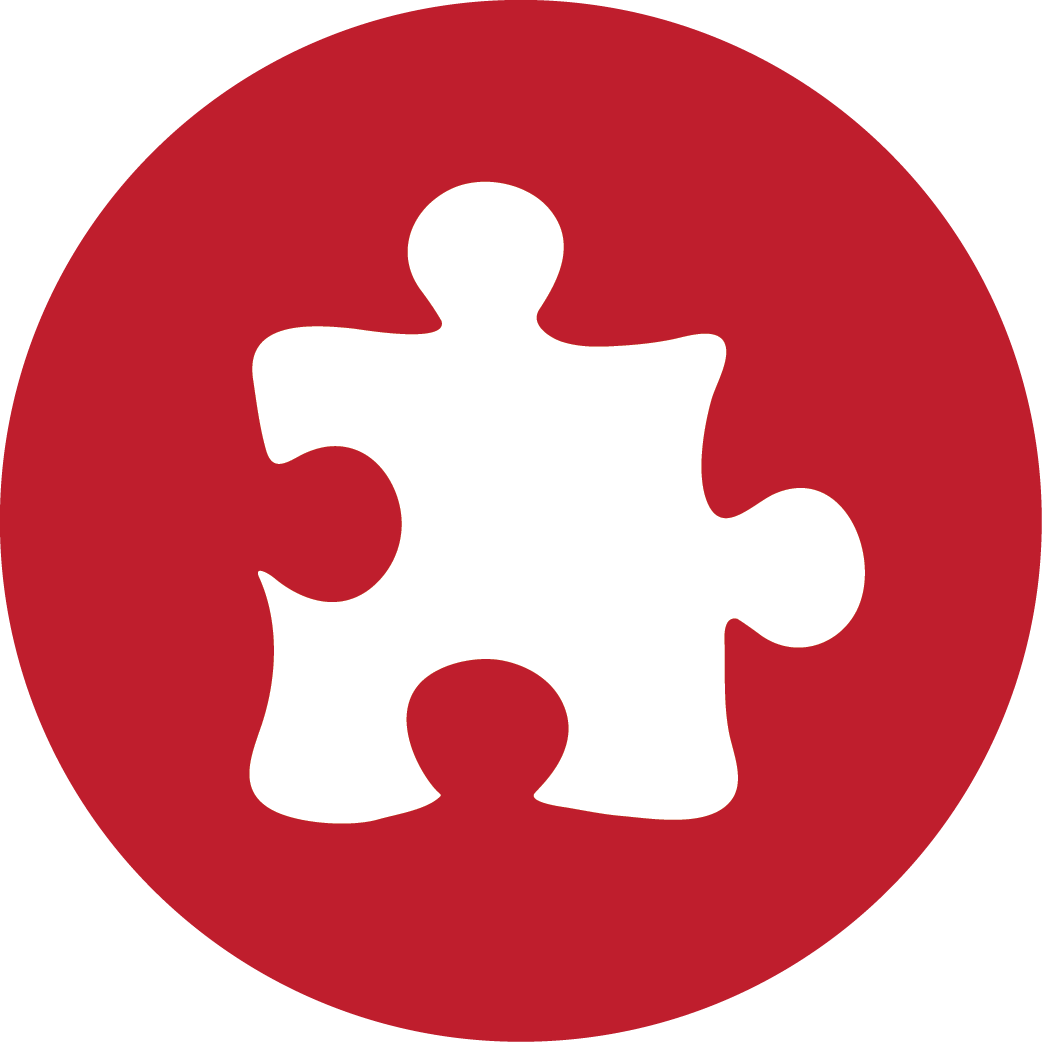 Puzzle, red icon | Icon search engine