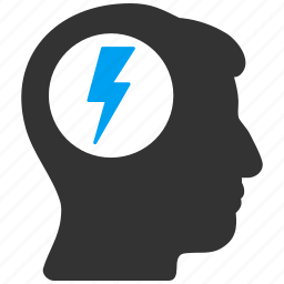 brain, brainstorm, brainstorming, electric shock, head migraine, solution, strategy idea icon