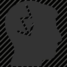 brain, brainstorm, brainstorming, electric strike, head migraine, human mind, solution icon