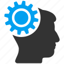 brain gear, brainstorming, configuration, engineering, head, human mind, idea icon