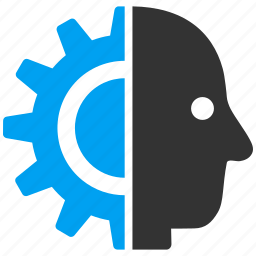 android, artificial person, cyber mind, cyborg head, intelligent, robot, robotics icon