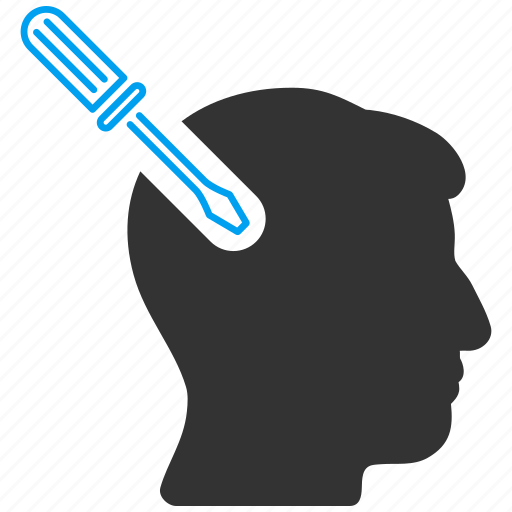 brain operation, cerebral tuning, head surgery, intelligence, neural execution, patient, screwdriver icon