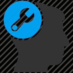 brain configuration, head repair, industrial, mind service, neurology, spanner, wrench icon