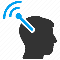 brain translation, head implant, matrix connector, neural links, radio interface, web connection, wifi antenna icon
