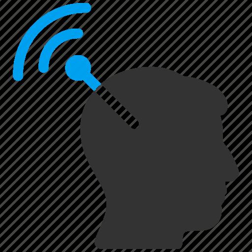 brain translation, head implant, matrix connector, neural links, radio interface, web connection, wifi antenna icon