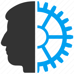 android head, brain gear, cyber man, cyborg, robo identity, robot engineering, robotics industry icon