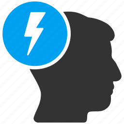 brain shock, electric strike, electricity, headache, migraine, sick head, sickness mind icon