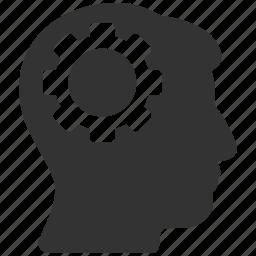 brain gear, brainstorming, engineering, head settings, human mind, idea, memory configuration icon