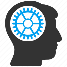 brain, cogwheel, control, engineering, head gear, memory, technology icon