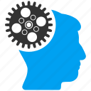 brain engineer, cogwheel, gearwheel, head gear, memory, mind control, technology icon