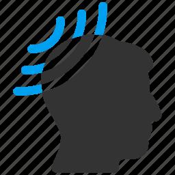 head, hypnosis, mental suggestion, propaganda, radio receiver, reception, translation icon