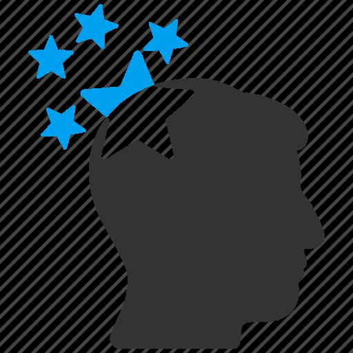 genius, head hit, inspiration, migraine, problem thinking, stars, strike icon