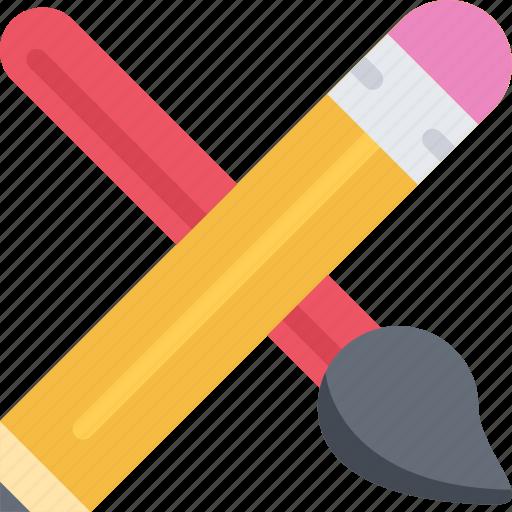 brand, branding, brush, design, pencil, typography icon