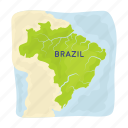 brazil, continent, country, location, map, territory icon