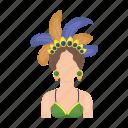 brazilian, carnival, costume, woman icon