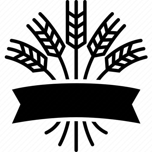 emblem, grain, grocer, market, ribbon, wheat icon