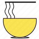 bowl, breakfast, fast, food, meal, noodles, yellow icon
