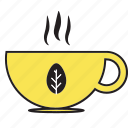 beverage, breakfast, coffee, cup, drink, glass, hot, tea, yellow icon