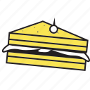 breakfast, cake, cream, dessert, fast, food, sandwich, sweet, yellow icon
