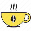 beverage, breakfast, cocktail, coffee, cup, drink, glass, hot, tea, yellow icon