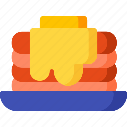 bread, breakfast, butter, food, meal, melt, pancake icon