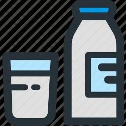 beverage, bottle, breakfast, dairy, drink, glass, milk icon