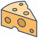 cheddar, cheese, dairy, food icon