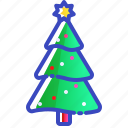 christmas, decorated, lights, tree, xmas icon