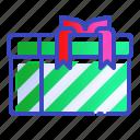 christmas, gift, green, present, stripey, xmas