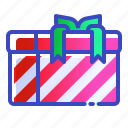 christmas, gift, present, red, stripey, xmas