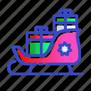 christmas, gifts, santas, sled, sleigh, xmas icon