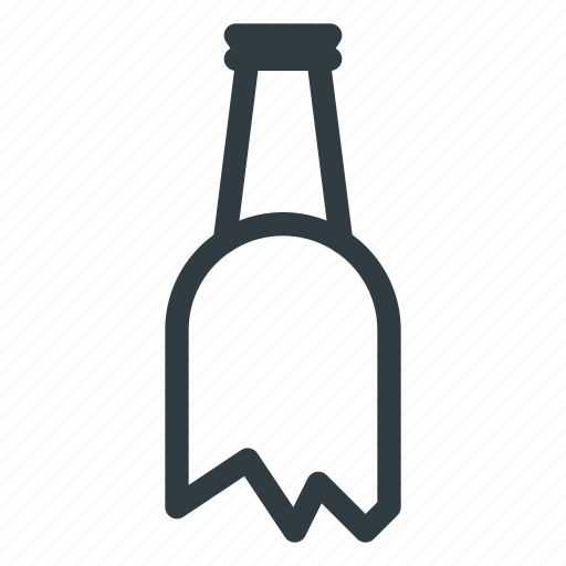 bottle, crushed, fragilebroken icon