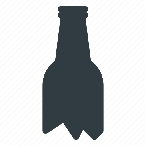 bottle, crushed, fragilebroken icon